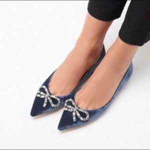 LK Bennett Elin Blue Velvet Flats (NWT)